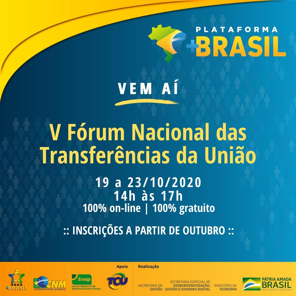 V Fórum Nacional das Transferências da União será on-line e acontecerá em outubro